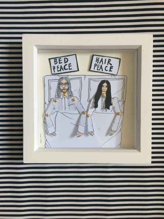 John Lennon and Yoko Ono framed dolls! These beautiful little dolls are hand illustrated by myself, hand cut and pinned using mini gold brad pins then framed.  The frames come in a lovely little package that can be personalized all you have to do is message me with who the gift is TO: and FROM: and I can pop that on ready for gifting.  All dolls are roughly 25cm tall and are professionally printed on sturdy 300gsm matt card before being hand cut and pinned. All framed doll sets come in a…