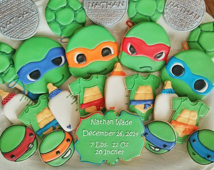 Turtle Baby, Baby Shower Cookies, Tmnt, Ninja Turtles, Teenage Mutant,  Ninjas, Cookies