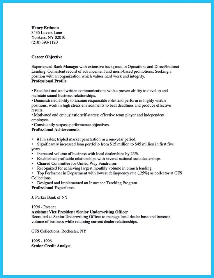 awesome Starting Successful Career from a Great Bank Manager Resume,