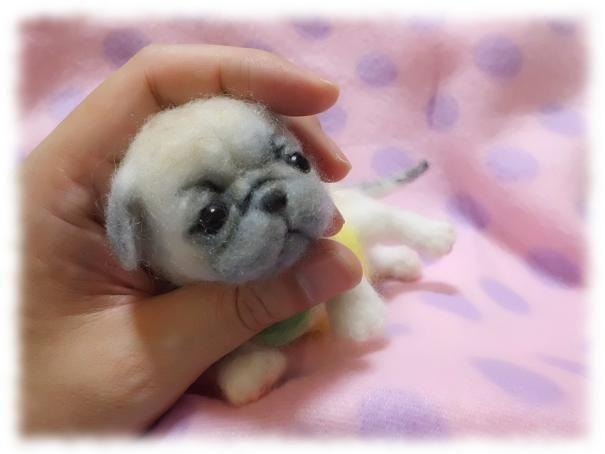 Needle felted Pug puppy by Japanese artist Yoshiron