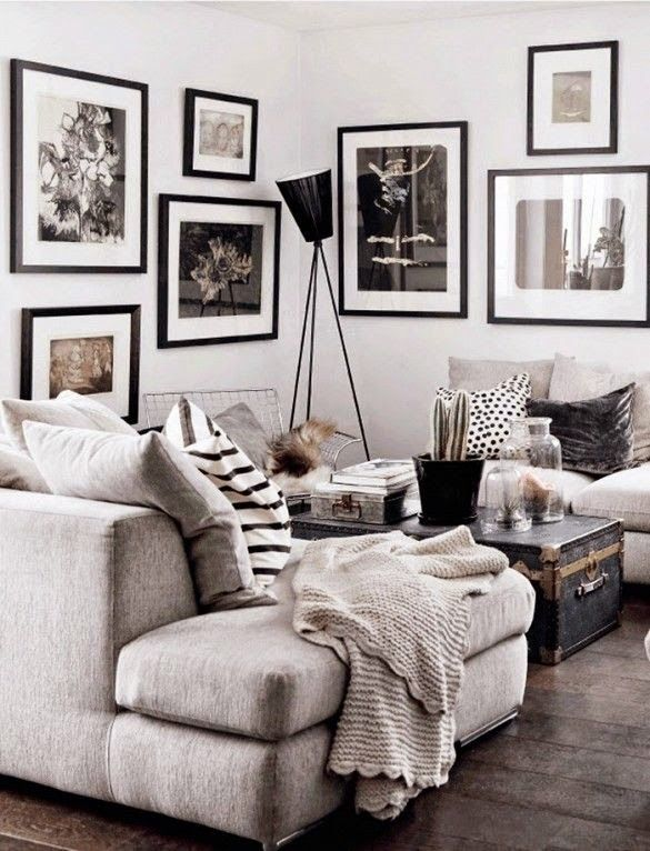 Ein Wohnzimmer In Grau Schwarz Und Weiss Tnen Dream Home Needs A Living Room And This White Grey Black Design Scheme Brings Us Straight To