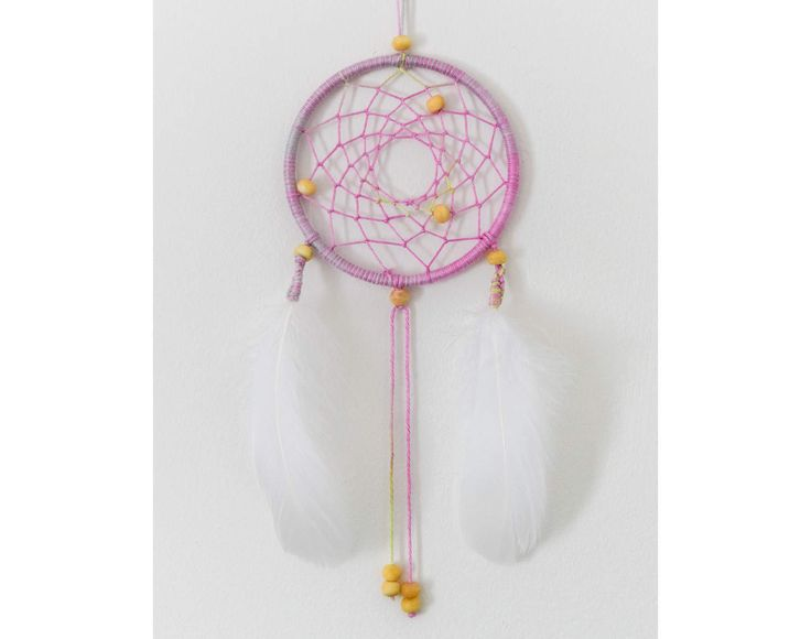 Small Boho Dreamcatcher / Pink/Grey/Lime Dream Catcher, Bedroom Decor, Wall Hanging, Dreamcatcher, Boho, Feather, Beaded, Boho Decor, White by ezdot on Etsy