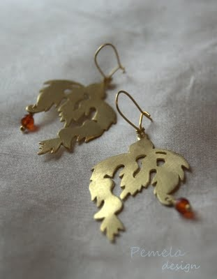 """Ethnic"" Earings made of gold plated silver and semiprecious stones by www.pemeladesign.com"