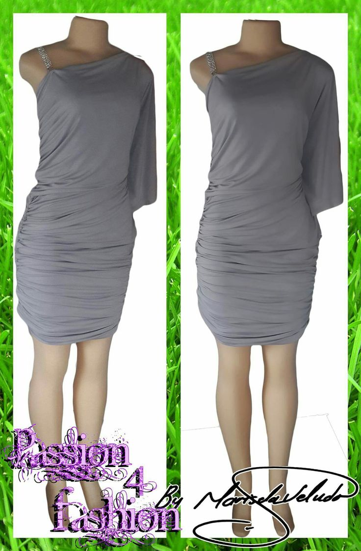 Light grey ruged fitted short dress with a loose sleeve effect and removable diamante shoulder strap. #mariselaveludo #fashion #passion4fashion #smartcasualwear #greydress