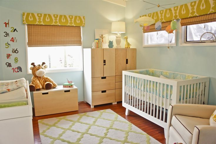ikea baby nursery - mix of white and blonde wood