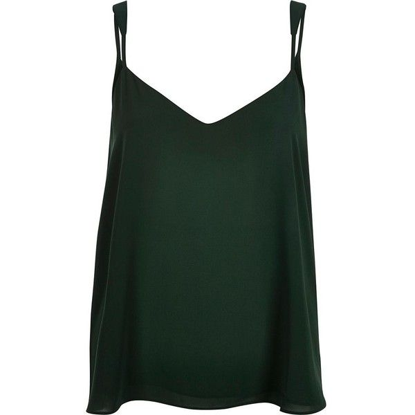River Island Dark green V-neck cami ($32) ❤ liked on Polyvore featuring tops, cami / sleeveless tops, green, women, v neck camisole, v neck cami, v neck tank top, camisoles & tank tops and camisole tops