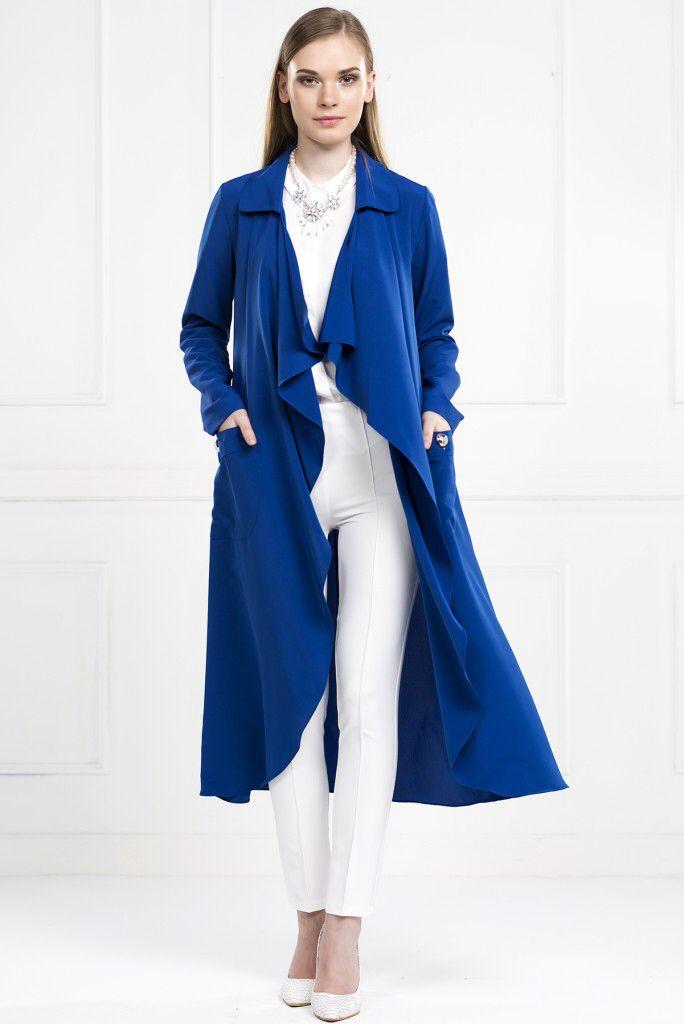 YAKASI VOLANLI UZUN SALAŞ SAKS CEKET www.fashionturca.com