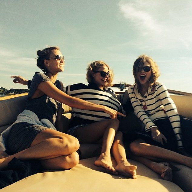 Coordinating stripes — and one of the many times Taylor Swift's squad was ridiculously photogenic.