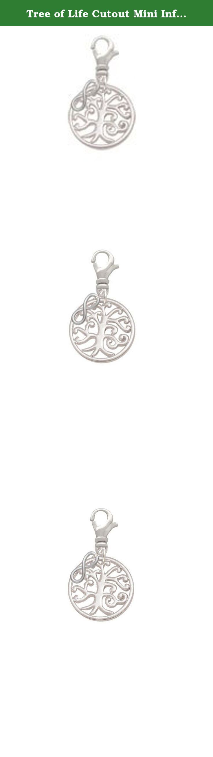 Tree of Life Cutout Mini Infinity Clip On Charm. Silver Tone Tree of Life Cutout Mini Infinity Clip On Charm. Silver Tone Tree of Life Cutout is approximately 0.72 x 0.72 x 0.9 inches (HxWxD) not including loop. Smooth on both sides. Mini Infinity Sign charm is approx. 0.41 x 0.17 x 0.11 inches (HxWxD). Silver Tone Swivel Lobster Claw Clasp is approx. 13 x 7 mm. Clip On Charms may be added to your favorite jewelry from bracelets to necklaces. PLEASE NOTE: Our products are lead safe, but…