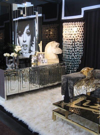 Hollywood Regency Style Silver & White Tone-On-Tone Master Bedroom via  Design Public.