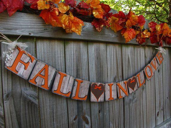 Wedding Garland Fall In Love Barn Wood Style by theartofhandmades, $26.95