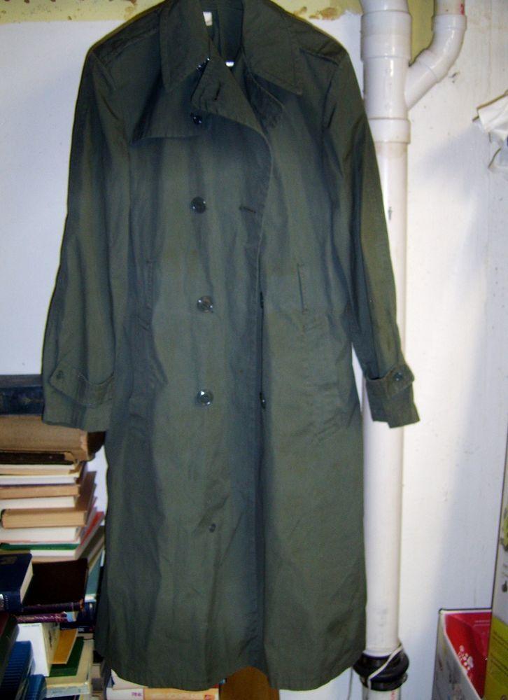 Vietnam Era US Army Men's Raincoat Quarpel Army Green 274 DSA 100-72-C-1249 34L