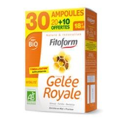 Gelée Royale Bio + Miel + Fructose 20 + 10 ampoules offertes Fitoform  Gelée Royale Bio de Fitoform, revitalise l'organisme, augmente la résistance et prévient des infections...