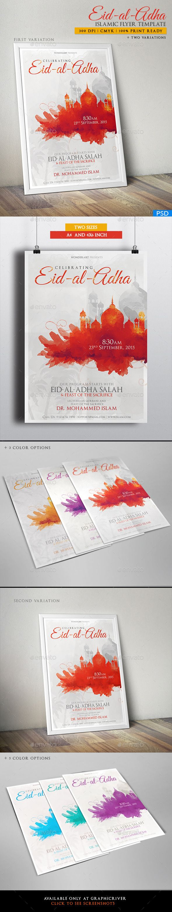 Eid-al-Adha Islamic Celebration Poster / Flyer Template #design Download: http://graphicriver.net/item/eidaladha-islamic-celebration-posterflyer/12752048?ref=ksioks