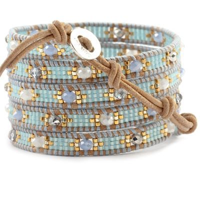 Chan Luu wrap bracelet. Brown leather, light blue and gold seed beads, faceted beads in blue, pearl, and gray.