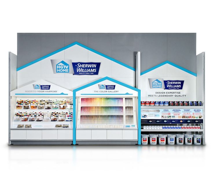 HGTV HOME BY SHERWIN-WILLIAMS FOR LOWE'S. This massive 24-ft. stretch of paint merchandising was installed in 1700-plus locations in the US and Canada.  It towers 16-ft. in the air to create a dramatic and awe-inspiring branding proposition.