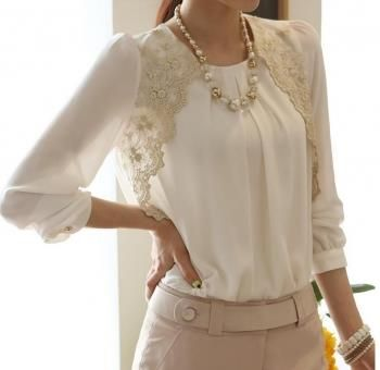 Шифоновая блузка с длинным рукавом