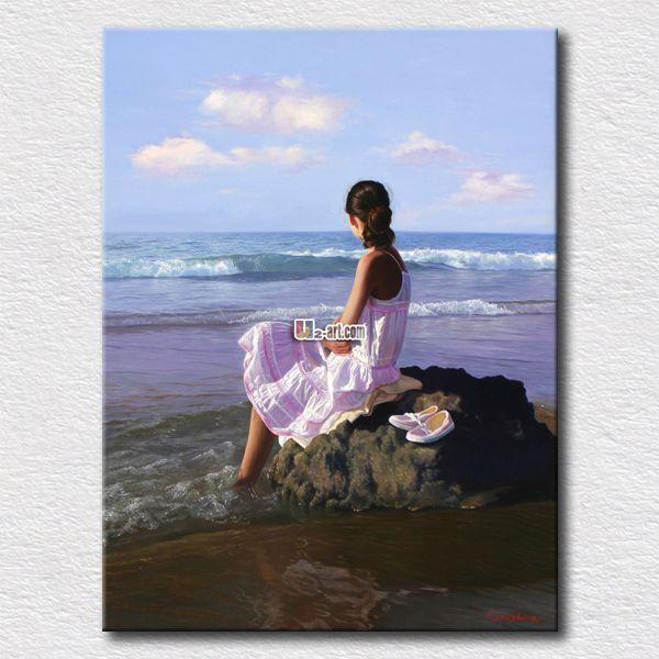 Белое платье девушка смотрит море фото снимки , напечатанные на холсте картины для спальни отделка стен