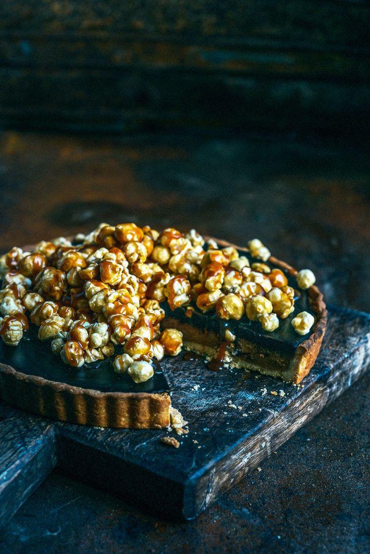 From The Kitchen: Salted Peanut Caramel Chocolate Popcorn Tart
