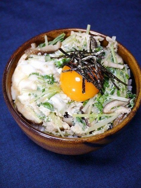 ダイエット&美容!どんぶりでも500kcal以下 水菜と卵があれば2分で美味しい水菜丼♪