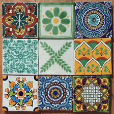"9 Talavera Mexican 4"" tile pottery mixed assorted multi colors Dolores Hidalgo"