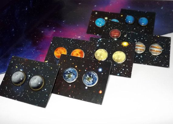 Planet stud earrings  Solar system stud by DarkFireHandmade