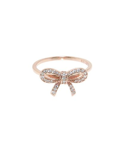 Rose Gold Pave Bow Ring - JewelMint