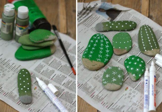 Manualidad ecológica Lindos cactus con piedras 2