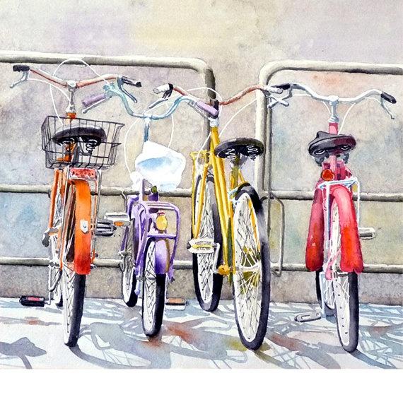 Bicycle Art Watercolor Painting Men Women by WatercolorByMuren