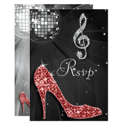 Black Disco Ball Sparkle Heels RSVP Card - invitations custom unique diy personalize occasions