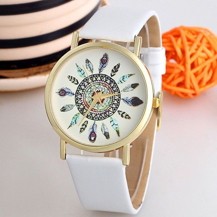 Indian vintage style white band girl watch