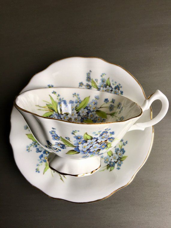 ba48b265093 Forget Me Not Teacup Queen Anne Vintage Bone China Tea Cup & Saucer Set  England - #R2102