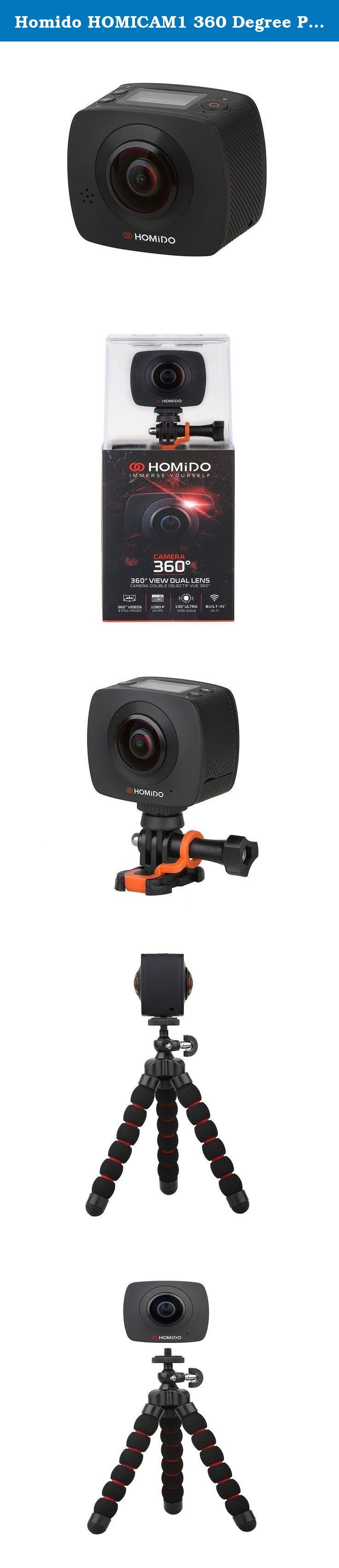 Homido HOMICAM1 360 Degree Panoramic VR Camera with Dual Spherical Lens 30fps 1080p full-HD Wi-Fi Digital Photography Video Capture Action Camera. TECHNICAL DATA: Camera Sensor: -Model: OV4689*2 -Standard:4.0M CMOS*2 Lens: Aperture: F 2.0 View Angle: 220°*2 Focal Length: F=1.1mm Fixed focus Exposure Control:Auto LCD Display: Display Size: 0.96'' Resolution: 128*64 Pixels File Format: Movie: H.264 (MOV), 1920 * 960p @ 30FPS Photo: JPG 3008 * 1504p Real Time Clock (RTC): Yes USB cable…
