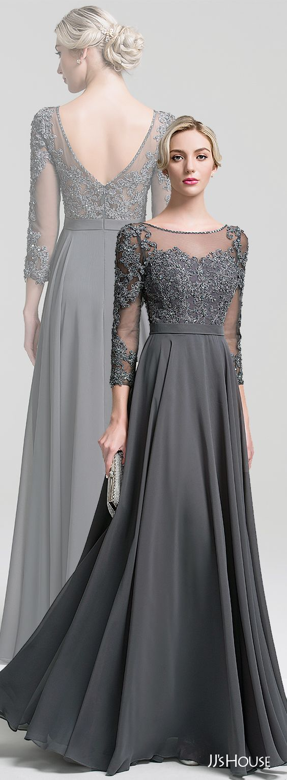 Chic and stylish Mother of the Bride in slate gray with 3/4 sleeves.