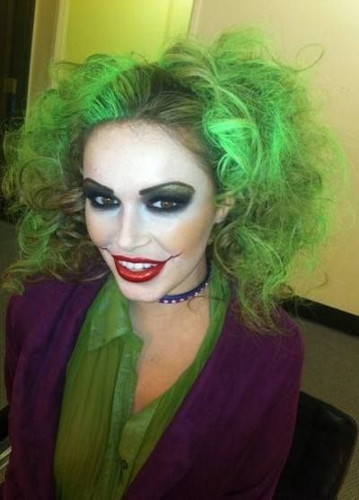 Green hair joker makeup and costume for 2014 Halloween party - tearing mouth  #2014 #Halloween