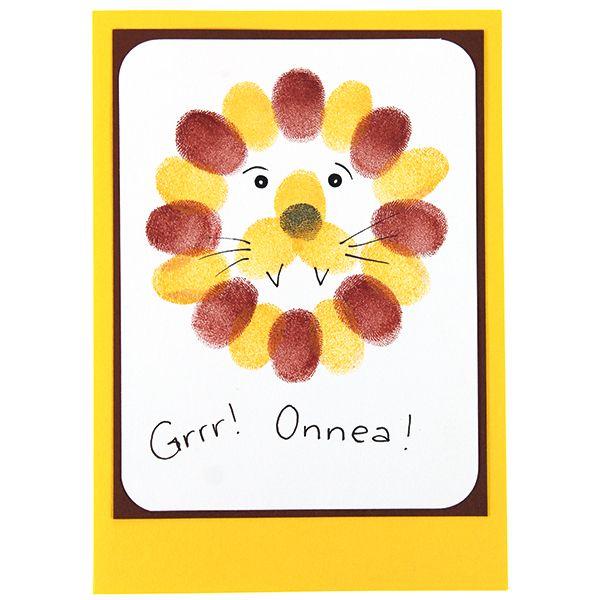 Tee hauska leijona-kortti sormileimailemalla Versacolor-leimasinmusteilla.