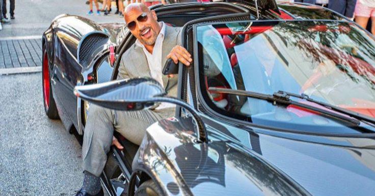 Dwayne Johnson Rolls Up To Ballers Premiere In Bespoke Pagani Huarya #celebrities #Offbeat_News