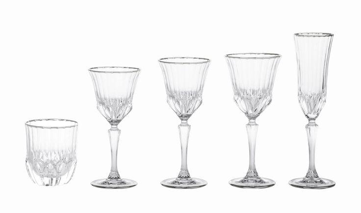 Bicchieri serie Diamante Filo Platino - Novità 2015 da Preludio Noleggi!