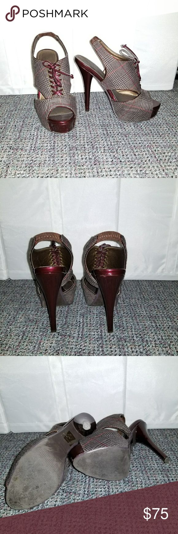 SHORT SALE!!! Plaid Heels Original Colin Stuarts Burgundy and Gray Plaid Slingback Heels. In overall very good condition. Some minor scuffs on the heel, and front opening. Colin Stuart Shoes Heels