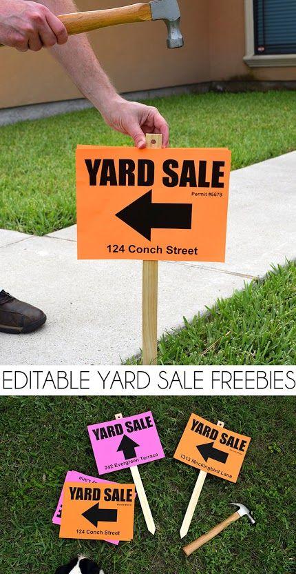 free yard sale sign printables