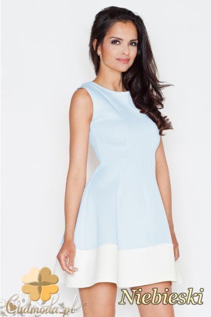 Rozkloszowana sukienka z kontrastowym pasem marki FIGL.  #cudmoda #sukienki #ubrania #dresses #kleidung #odzież #glamour #styl #fashion