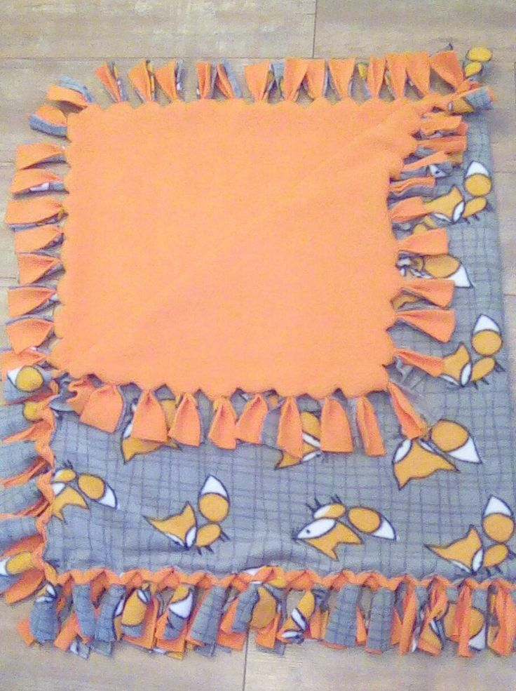 Fox Fleece Orange and Grey No Sew Blanket by RogueUnicornCrafts on Etsy