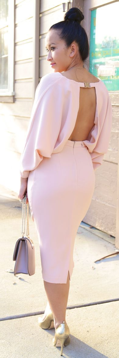 Asos Dusty Pink Open Back Batwing Sleeve Pencil Bottom  Dress by KTRstyle