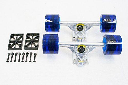 "SCSK8 LONGBOARD Skateboard TRUCKS COMBO set w/ 70mm WHEELS + 9.75"" Silver Truck Package with FREE SKATE TOOL by SCSK8 (Transparent Blue) SCSK8 http://www.amazon.com/dp/B00N3GDDZC/ref=cm_sw_r_pi_dp_Q.n4ub1DJP011"
