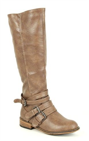 Deb Shops Tall Flat #Riding #Boot with Ankle Straps $42.90