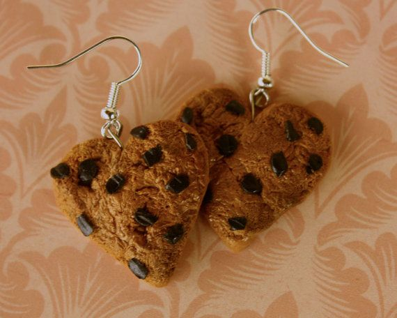 Heart shaped choco chip cookies earrings by TinkyPinky on Etsy