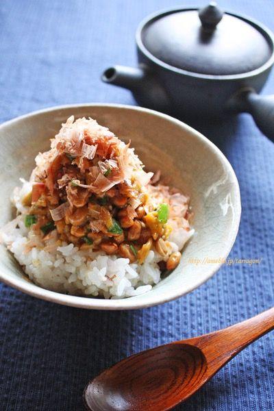 焼き茄子と納豆のネバネバコチュ丼