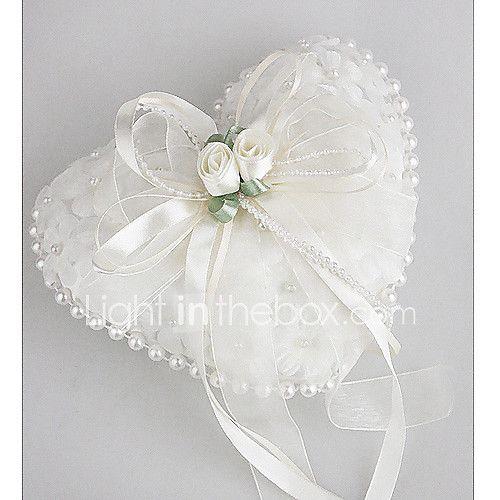 la boda cojín de raso liso con flores preciosas y perlas 2017 - $5831