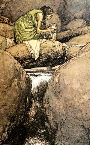 | Bean-Nighe by Alan Lee.   A harbinger of death,for the garments she washes are those of the person who is soon to die