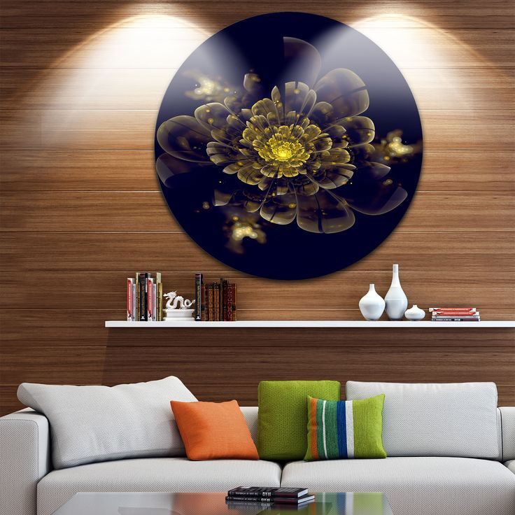 Designart 'en Metallic Fractal Flower' Digital Art Disc Metal Artwork
